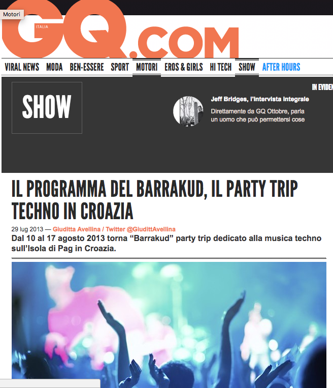 Il programma del Barrakud, il Party-Trip techno in Croazia