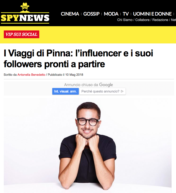 I Viaggi di Pinna: l'influencer e i suoi followers pronti a partire