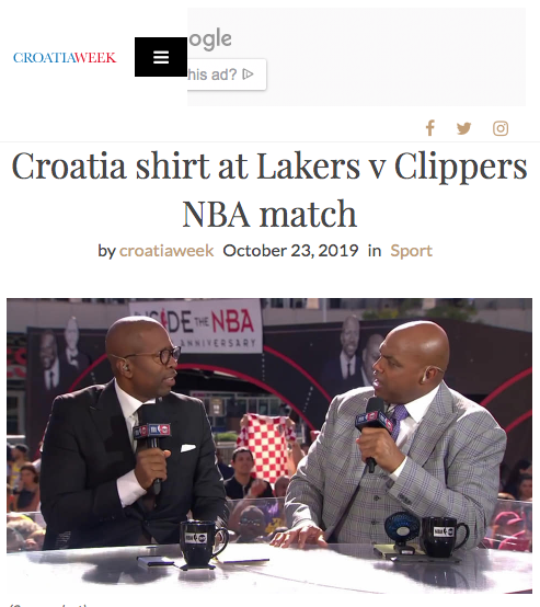 Shaq happy to see Croatia shirt at Lakers v Clippers NBA match